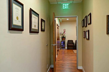 Hall way and exit at Jeanette Thai, DDS, Lake Forest, CA